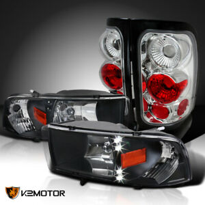 For 1994 2001 Dodge Ram Pickup Black Led Drl Headlights clear Rear Tail Lamps