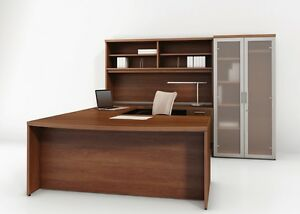 Options Modern L shape Bow front Executive Office Desk With Credenza And Hutch