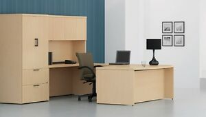 Options Modern L shape Bow front Executive Office Desk Shell With Storage Hutch
