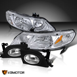 Fit 06 08 Civic 4dr Sedan Chrome Headlights clear Bumper Fog Lamps