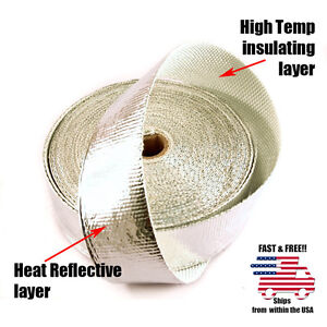 Alumninized Reflective Turbo Heat Charge Pipe Exhaust Wrap Tape Roll 2 X 25 Ft
