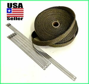 Thermal Header Pipe Tape Titanium Lava Exhaust Wrap 1 X 50ft Stainless Lock Ties