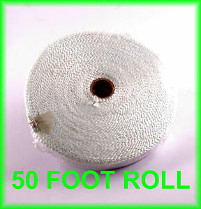 White Racing Exhaust Pipe Heat Header Wrap Pipe Motorcycle Tape 1 X 50 Feet