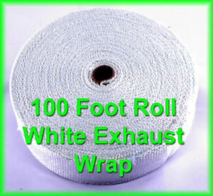 White Racing Exhaust Pipe Header Wrap Fiberglass Heat Tape 2 Wide X 100 Feet