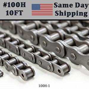 100h Roller Chain 10 Ft With 1 Connecting Link Same Day Priority Shipping