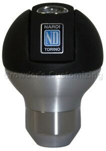 Nardi Gear Shift Knob Orbit Black Leather Aluminum 75th Anniversary