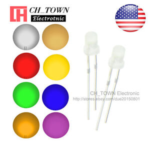 8kinds 800pcs 3mm Led Diodes Diffused White Color Red Blue Green Pink Mix Kits