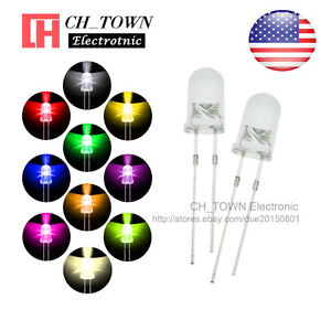 10 Lights 1000pcs 5mm Led Diodes Water Clear White Red Purple uv Pink Mix Kits
