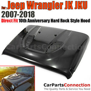 For Jeep Wrangler 07 18 10th Anniversary Hard Rock Hood Steel Black Power Dome