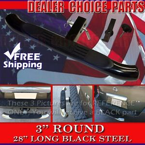 3 Round Black Painted Steel Hitch Step Bumper Guard 28 Fits 2 Receivers