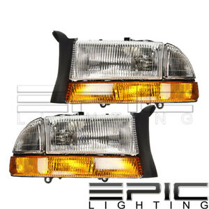 1997 1998 Dodge Dakota Durango Headlights W Signal Light Left Right Pair