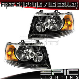 2003 2006 Ford Expedition Black Bezel Halogen Headlights Left Right Sides Pair