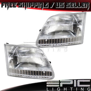 1997 2004 Ford Expedition F 150 F 250 Headlights Headlamps Left Right Pair