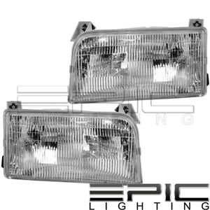 Left Right Sides Pair Head Lamps For 1992 1996 Ford F150 F250 F350 Bronco
