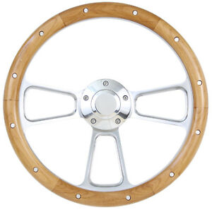 Hot Rod Street Rod Rat Rod Ford 14 Billet Real Alderwood Steering Wheel