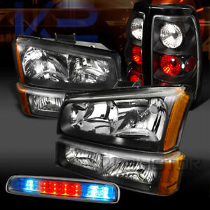 03 06 Silverado Black Head Bumper Lights Black Tail Clear Led 3rd Stop Lamps