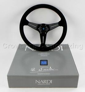 Nardi Steering Wheel Deep Dish Corn 350 Mm Black Suede Leather Classic Horn