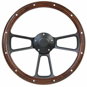 Ford Mustang 14 Mahogany And Black Pbk Billet Steering Wheel With Pony Horn