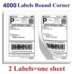 Round Corner 4000 Half Sheet Shipping Labels 8 5x5 5 Blank For Laser Inkjet