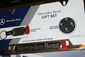 Mercedes Benz License Plate Frame Key Ring Tire Valve Caps Gift Set Genuine