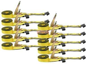 Ratchet Tie Down Straps W Flat Hook 10 000 Lbs Capacity Yellow 10 Pack