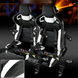 2pc White Black Pvc Leather Jdm Racing Seats 4 Point Harness Racing Seat Belts