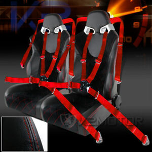 2pc Jdm Black Suede Red Line Leather Racing Seats Red 4 Pt Camlock Seat Belts
