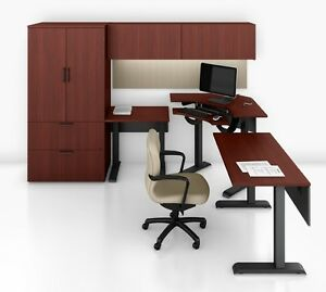 Quorum Modern Adjustable Height Office Desk With Hutch And Storage