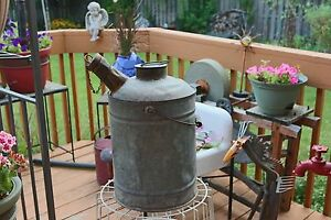 Antique Primitive Galvanized Can With Wood Handle Stopper