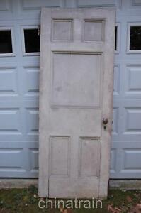 Antique Vintage 1880s Solid Wood 5 Panel House Door 83 75 X 31 25