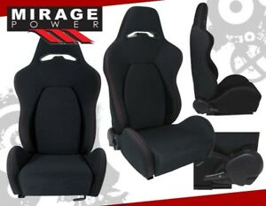2x Universal Reclinable Racing Bucket Seats Automotive Car Black W Red Stitches