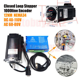 1712oz in Nema34 Closed Loop Stepper Motor 12nm Hybrid Servo Driver 2hss86h Kits