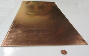 101 Copper Sheet 1 8 To 1 4 Hard 063 Thick X 12 0 Wide X 24 0 Length