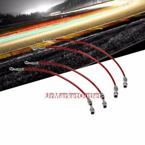 Red Front Rear Stainless Steel Hose Brake Line Kit For Nissan 89 94 Maxima 3 0l