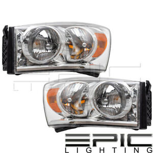 Fits 2007 09 Dodge Ram 1500 2500 3500 Headlights Headlamps Pair Left Right Set