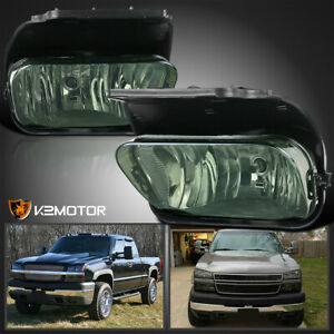 For 2003 2006 Chevy Silverado 1500 2500hd 3500 Smoke Bumper Fog Lights Lamps