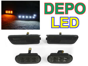 Depo Smoke White Led Bumper fender Side Marker Light For 99 04 Vw Golf gti jetta