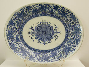 Blue White Antique Chinese Japanese Export Porcelain Platter Canton Transfer