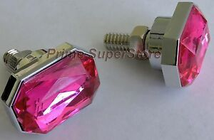 License Plate Frame Fasteners Screws Chrome Pink Ruby Caps Cover Plastic Metal
