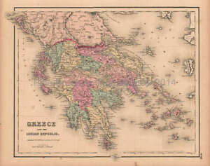 Greece Ionian Republic Antique Map Colton Gw 1857 Original