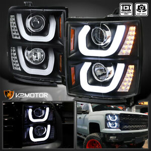 2014 2015 Chevy Silverado 1500 Dual Halo led Signal Projector Headlights Black
