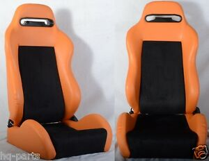 1 Pair Orange Black 2 Tone Adjustable Racing Seats Fit For Bmw New