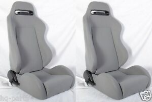 1 Pair Gray Cloth Reclinable Racing Seats Fit For Bmw Sliders
