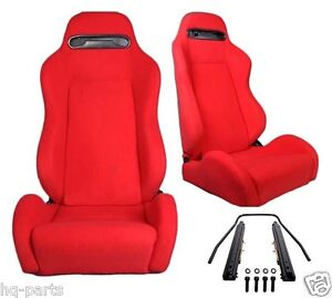 1 Pair Red Cloth Reclinable Racing Seats Fit For Bmw Sliders