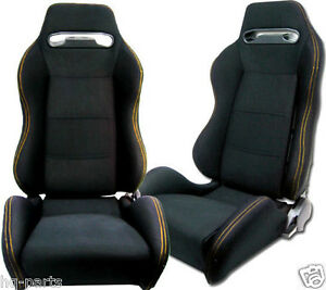 Pair Black Cloth Yellow Stitch Reclinable Racing Seats Fit For Bmw Sliders