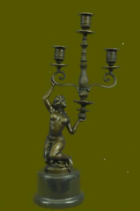 Bronze Sculpture Art Deco Nude Nymph Candle Holder Bronze Figurine Figure Deal