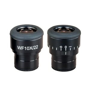 Pair Super Widefield Microscope Eyepieces Wf10x 22 With Adjustable Diopter 30mm