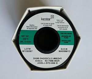 Kester 245 66 No Clean Flux Solder 0 015in 0 55lb Sn96 5 cu0 5 ag3 Usa