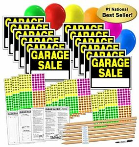 New Garage Yard Sale Sign Kit With Pricing Stickers And Wood Sign Stakes