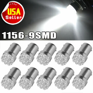 10 X White 1156 Ba15s 9smd Rv Camper Trailer Led Interior Light Bulbs 1073 1141